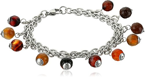 (ELYA Jewelry Womens Stainless Steel Natural Mixed Amber Agate Beaded Multi-Strand Charm Bracelet, White/Brown, One Size)