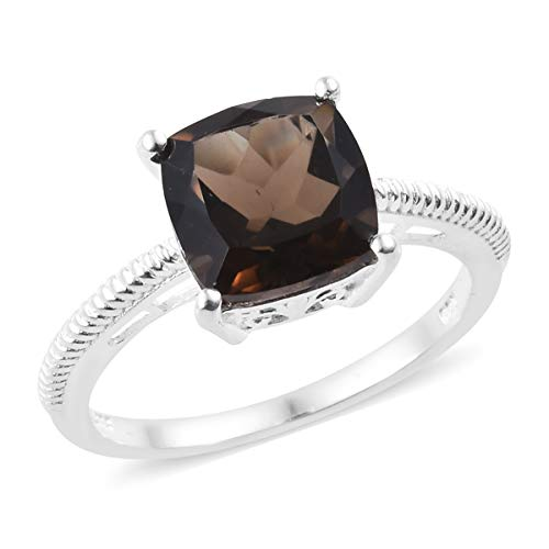 925 Sterling Silver Cushion Smoky Quartz Engagement Ring for Women Jewelry Cttw 3.6