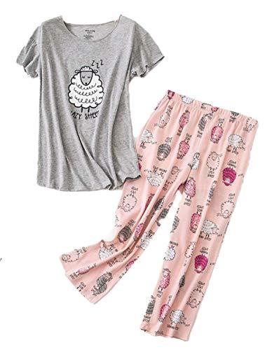 Women's Short Sleeve Tops with Capri Pants Pajama Sets TZ001-Sheep-XL]()
