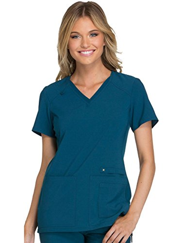 Field Short Sleeve Top - Cherokee Women's Iflex V-Neck Knit Panel Top, Caribbean Blue, Medium