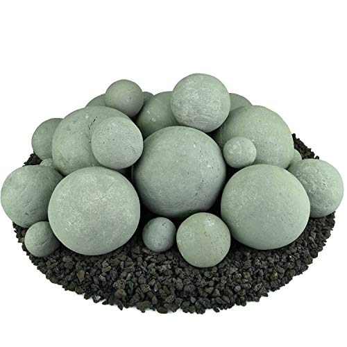 Ceramic Fire Balls | Mixed Set of 23 | Modern Accessory for Indoor and Outdoor Fire Pits or Fireplaces - Brushed Concrete Look | Pewter Gray (Log Modern Table)
