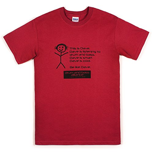 Strand Clothing DJ T Shirt - This is Dave - Synthesizer Bass Synth Music Drum & Bass Producer Shirt - Rust Red - L