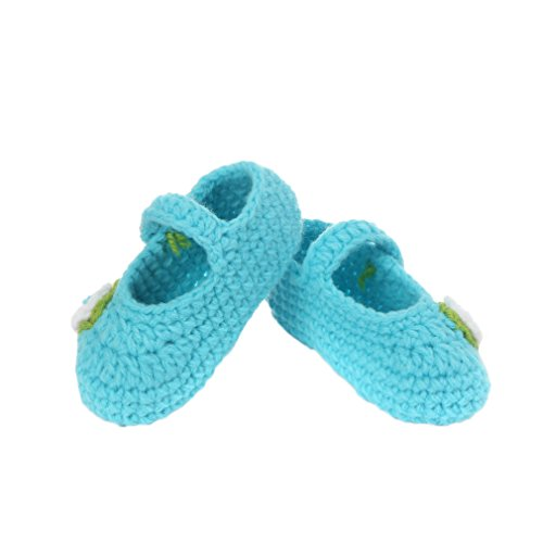 Smile YKK Strickschuh Strick Schuh Baby Unisex süße Muster One Size 11cm Blüte Blau