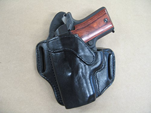 Kimber Micro 9 9mm OWB Leather 2 Slot Molded Pancake Belt Holster CCW BLACK LEFT HAND