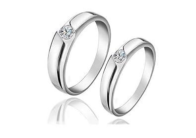 4f5cc60f8c 925 Sterling Silver CZ Couple Rings Set: Amazon.ae: simiglory