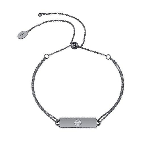CHARLIZE GADBOIS Sterling Silver Diamond Bracelet (0.054 cttw, I1-I2 Clarity) Gunmetal Nano Coated by Gadbois Jewelry
