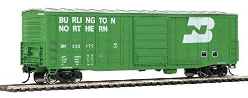 50' WAFFLE-SIDE BOXCAR - READY TO RUN -- BURLINGTON NORTHERN 332179 (YOUNGSTOWN DOORS, CASCADE GREEN, WHITE)
