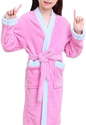 Trendy XU children Collarless Flannel Pure Color Bathrobe Soft Coral Pajamas With Pockets (Pink, L)