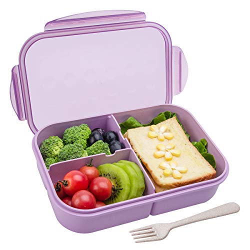 - Bento Box,Bento lunch Box for Kids and Adults, Leakproof Lunch Containers with 3 Compartments, Lunch box Made by Wheat Fiber Material(Purple) By Itopor