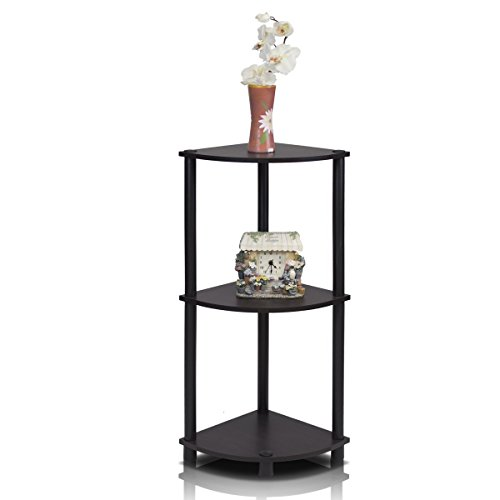 (Furinno 12077EX/BK Turn-n-Tube Multipurpose 3-Tier Corner Shelf, Espresso/Black)