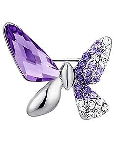 Arco Iris Jewelry - broche en forma de mariposa hecho con cristal austriaco, color morado