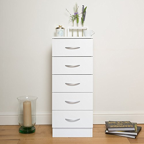 Home Treats White Chest of Drawers Bedroom Furniture. Anti-Bowing Clothes Organiser for Any Room (White, 5 Drawer Tallboy)