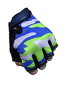 Fingerless Kids Gloves Bicycle Bike Cycling Camping Training Outdoor Sports Gloves for Children 4-12 Y Anti-Slip Elastic Mitten (Green)