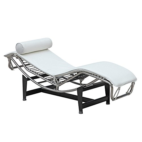 Le Corbusier Lounge (Mid Century Modern Classic Le Corbusier LC-4 Style Replica Chaise Lounge Chair With Premium White Genuine Leather and Stainless Steel Frame)