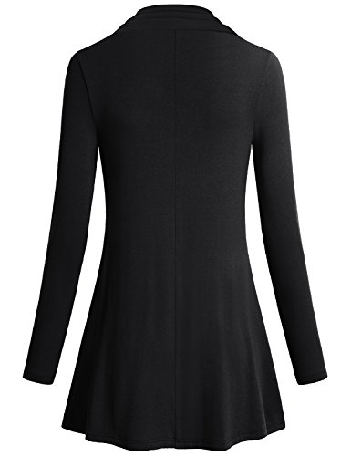 Women Solid Color Shirts,Miusey Long Sleeve Cowl Neck Loose Fit Comfy Swing Tunic Casual Top Black Medium