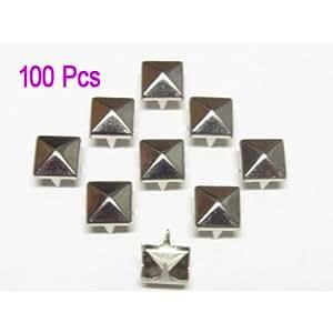 100X Apliques Remaches Plata 10mm Forma Pirámide Tachuelas Bolsa/Calzado/Guante