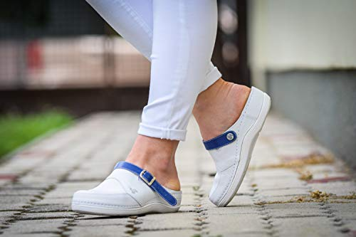 Comfort Lightweight Clogs Women's Nursing Blue STEPSO Ankle Strap Color White Leather Professional zqZOZ6