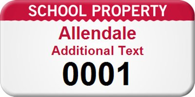 Custom School Property Asset, PlioGuard™ Annealed Metal Asset Tags, 100 Tags / Pack, 1.5'' x 0.75''