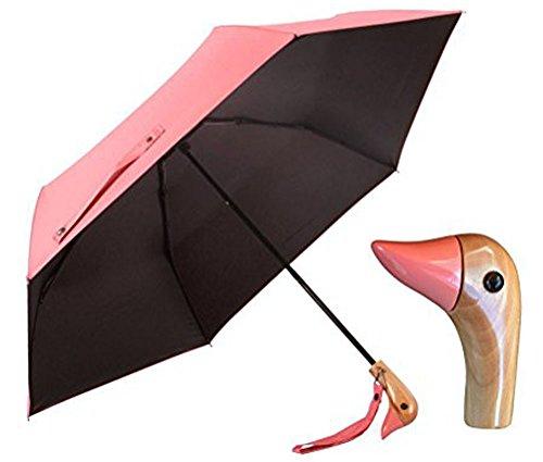 Duck Head Wood Handle Umbrella,UV 50+ Shade Rain Shine Folding Travel Umbrella