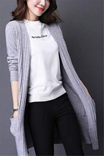 Abbigliamento Grau Lunghe Elegante Pullover A Puro Outwear Giacca Maglia Relaxed Tasche Squisito Con Casual Donne Autunno Giubotto Colore Primaverile Maniche Forcella Moda Aperto Coat gqfPqw