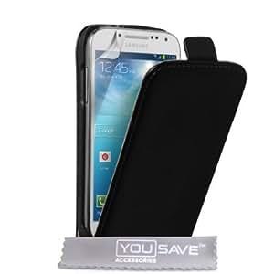 Quaroth Samsung Galaxy S4 Mini Case Black Genuine Leather Flip Cover