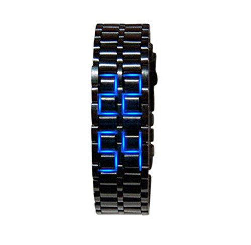 Deepon Modern Fashion Men's Lava Black Clock with Stainless Steel Lava LED Digital Bracelet 50m Waterproof Samurai Watch (Men(black+blue))