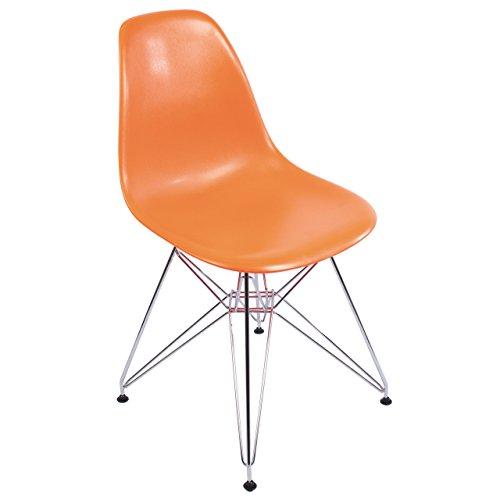 Eames Style Side Chair, Orange w/ Metal Base