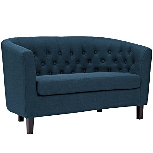 Modway Prospect Upholstered Contemporary Modern Loveseat In Azure (Curved Settee)