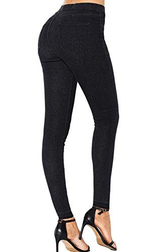 Trousers ulein Pantalons Crayon Fr Fox Fashion Noir Femmes Jeans lastique Casual Taille Serr Denim 4wS8Uq