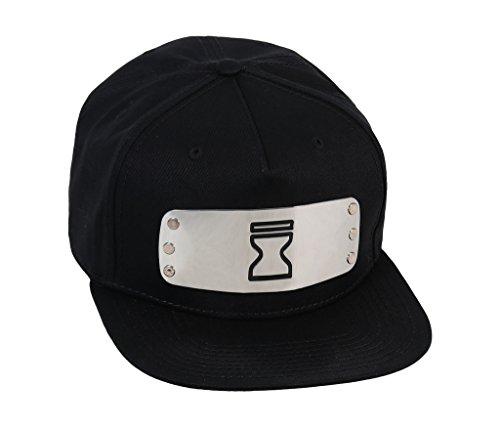 Naruto Shippuden Hidden Sand Village Metal Plate Logo Black Snapback Hat