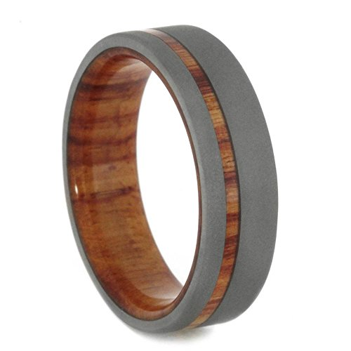 Beadblast Titanium 6mm Comfort Fit Tulip Wood Flat Band and Sizing Ring, Size 6.5 by The Men's Jewelry Store (Unisex Jewelry)