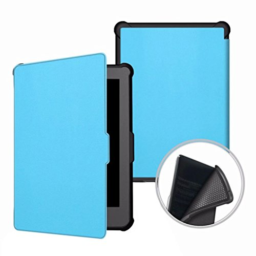 Price comparison product image Dreamyth For Kobo Clara HD Ultra-thin Custer Tri-Fold Smart PU Leather Case Stand Cover Practical (blue)