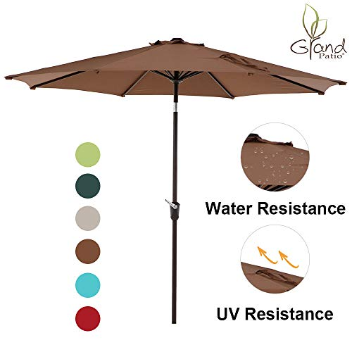 Grand Patio 9 FT Enhanced Aluminum Patio Umbrella, UV Protected Outdoor Umbrella with Auto Crank and Push Button Tilt, Coffee