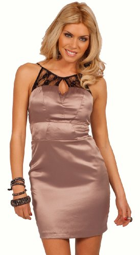 Sleeveless Lace Keyhole Neckline Fitted Design Evening Cocktail Party Mini Dress