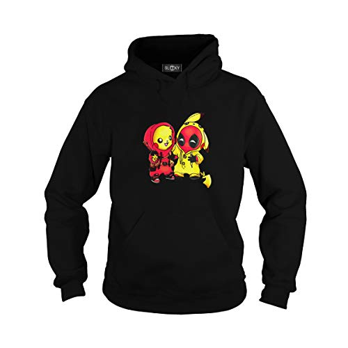 Sleeky Unisex Pikachu Deadpool Adult Hooded Sweatshirt (2XL, Black) -