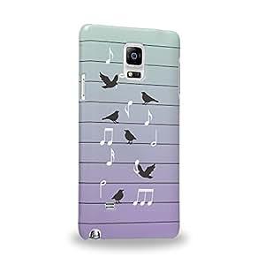 Case88 Premium Designs Art Music Bird And Musical Lines Carcasa/Funda dura para el Samsung Galaxy Note 4