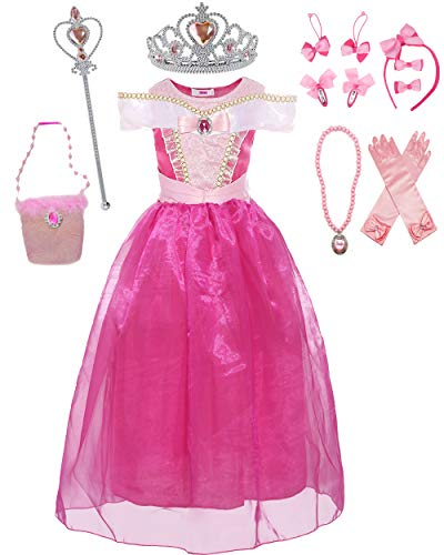 (Girls Drop Shoulder Princess Aurora Costume Dress up with Headdress Outfit Set (5, Pink))