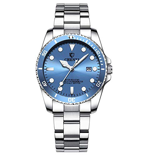 (Women's Classic Fashion Silver Stainless Steel Watches Waterproof Date Luminous Lady Dress Wrist Watch (Light Blue))