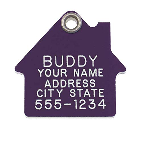 LuckyPet Pet ID Tag - House Shape - Personalized Dog Tags & Cat Tags - Durable - Long Lasting - Size: Medium, Color: Purple Plastic