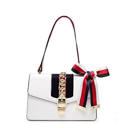 Cuir De Épaule Main Yxlong Pour Satin Verrouillage Cravate Ruban Oblique White Femmes En Coréennes Boucle Noeud Nouveau Sac xxBq1YSz
