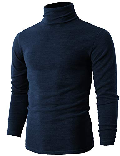 (H2H Mens Mock Neck Long Sleeve Cardigan Sweater Top NAVY US XS/Asia M (KMTTL028))