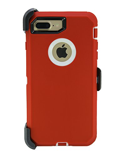 Series Media Wallet - WallSkiN Turtle Series Cases for iPhone 7 Plus/iPhone 8 Plus (Only) Full Body Protection with Kickstand & Holster - Garnet (Red/White)