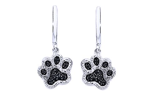 Cyber Monday Deals Black & White Natural Diamond Paw Print Dangle Earrings In 14K White Gold Over Sterling Silver (1/6 Ct)