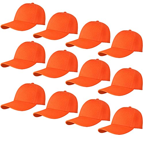 12-Pack Bulk Sale Plain Baseball Cap Adjustable Size Solid Color G012-14-Orange -