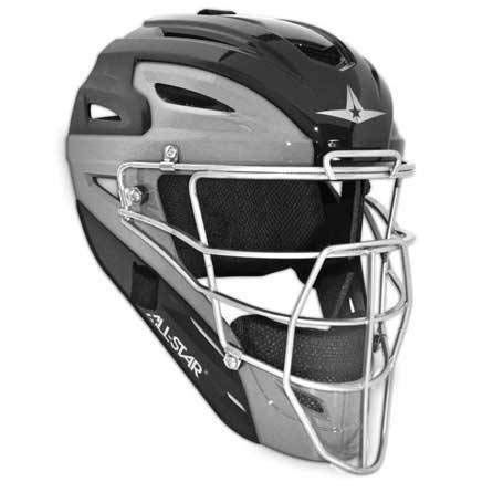 All Star Adult Pro Model 2-Tone Blk/Sil Catcher's Helmet ()