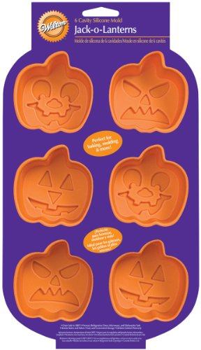 Wilton Pumpkin Faces 6 Cavity Silicone Mold ()