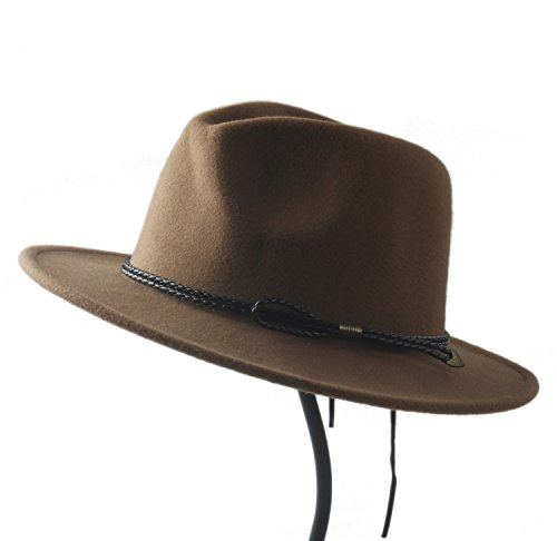 Nueva para Panama Fedora para ala Ancha Mujeres Lana Gorras Caballero Unisex Feminino Church Hat Sun Jazz Lana YINUO de Fedora 9 Hat Hombre Chapeu Cap de Top H5IxR