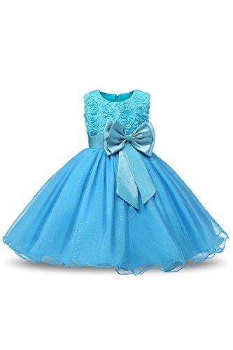 Ragazze Yming Vestito Blu Scintillante Grandi Strato Tuffle Rosa Principessa Fiore 3d IqRYxUaR