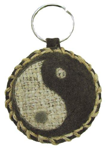 Shangri-La Nook Hemp & Leather KeyChain Handmade in Nepal