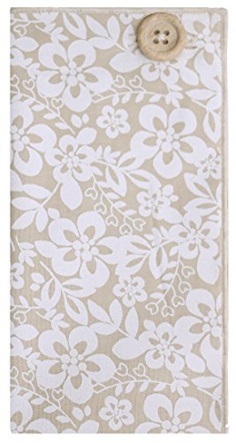 Tan and White Floral with Wooden Button Men's Pocket Square by The Detailed Male by The Detailed Male (Image #1)